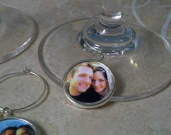 Wine Glass Charms Custom Photo Round Charms