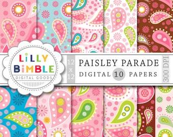 Paisley digital papers for scrapbooking, cards, invites, pink, brown, blue scrapbooking paper DIGITAL DOWNLOAD