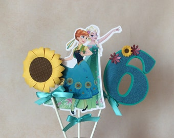 Frozen Fever Centrepiece, Frozen Fever Inspired Decoration, Frozen Fever Cake Topper. Double sided.