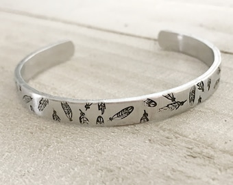 hand stamped feather cuff, bohemian bracelet, thin cuff bracelet, summer jewelry, stamped cuff bracelets, feather cuffs, gypsy jewelry,