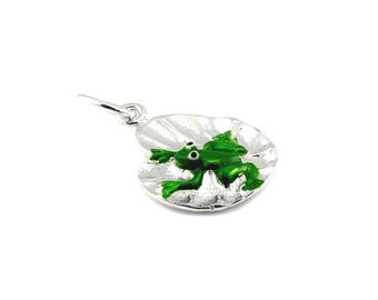 Sterling Silver Enamelled Frog On Lily Pad Charm For Bracelets