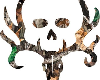 "Bone collector Style Buck and Skull camo, decal/sticker,  4"" - 18"""