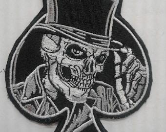 skull top hat spade patch