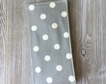 Tract Holder in Gray Polka-Dot Fabric - Pocket for Invitations and Contact Cards and 8 Clear Pockets Inside - for jw tracts - Ready to Ship