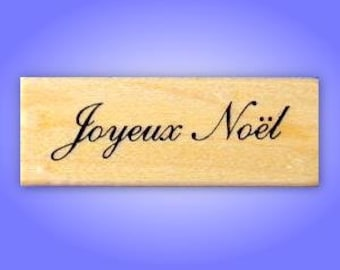 JOYEUX NOEL French Merry Christmas Mounted rubber stamp, holiday greeting, Sweet Grass Stamps No.21