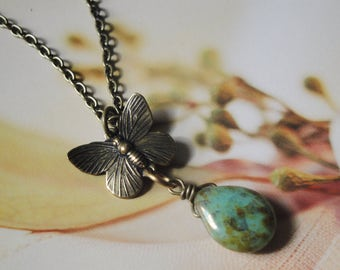 Butterfly Charm And Czech Glass Teardrop Chain Necklace   Spring Gift For Her