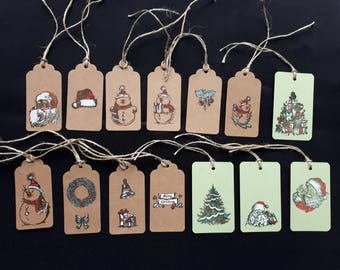 set of 5 gift tags for Christmas patterns to choose from