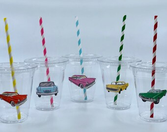 Retro Car Party Cups with Lids and Straws, Plastic Car Party Drink Cups, Vintage Car Party, Retro Car Party