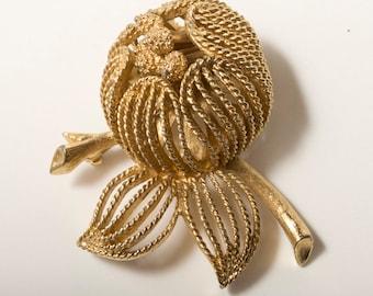 Vintage Gold Budding Flower Brooch by Monet