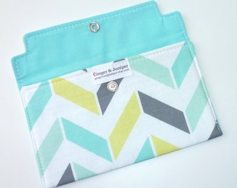 Coupon Holder Aqua Grey Chevron - Wallet - Receipt Holder - Phone Case - Jewelry Pouch - Gift For Mom - Gift For Her - Christmas Gift