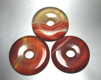 3 Red Agate Donut Focals 34 mm - Item 70087