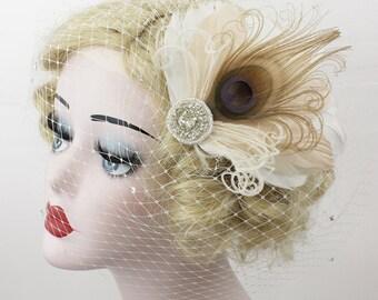 Bridal Veil, Champagne Peacock Feather Fascinator, Ivory Birdcage Veil, Crystal Headpiece, Crystal Veil, 1920s Flapper, 2 Piece Set