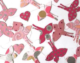 Flying Birds Paper Garland Banner Bunting | Hearts Glitter | Wedding Shower | Baby Girl Shower | Birthday Decoration | Girls Room Decor SALE