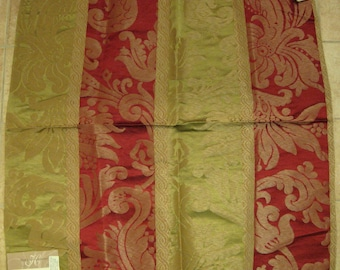 Red Lime Green Striped Damask Silk Linen Designer Fabric Sample Embossed Holiday Look
