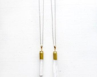 Selenite//Gypsum//Stone chakra necklace//White + Gold//Crown Chakra//Third Eye chakra//Gift for yogi//Energetically clearing//Stone vibes