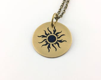 Flaming sun jewelry, solar eclipse necklace, celestial gifts, lunar eclipse, sun gifts, total solar eclipse, eclipse gifts, science gifts