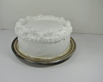Vintage SILVERPLATE CAKE PLATE Set/2 Tarnish Patina Open Work Rim Wedding Silver Plate Stand Reed & Barton