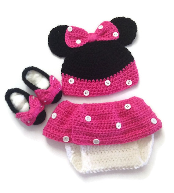 Minnie Mouse Crochet Minnie Mouse Ears Diaper Cover Set