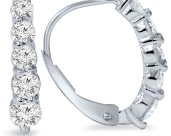 3/4CT Diamond Hoops 14 KT White Gold
