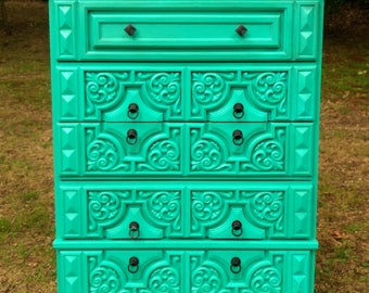 Turquoise Hollywood Regency Dresser / Turquoise Chest of Drawers / Painted Dresser / Mediterranean Chest of Drawers