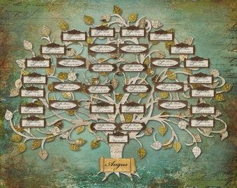 Family Tree - Custom with 33 Labels - Blue - DIGITAL FILE ONLY