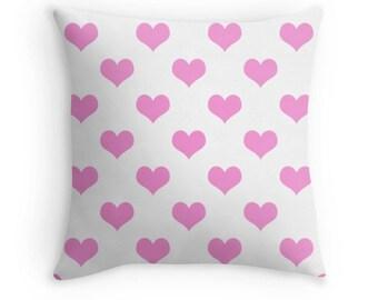 Pink Heart Pillow, Pink Heart Print, Pink Heart Decorative Pillow, Pink Black Pillow, Pink Decor, Pink Throw Pillow, Pink Cushion, Pink Room
