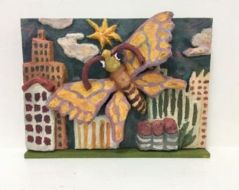 3D Butterfly / Original Clay Art on wood panel