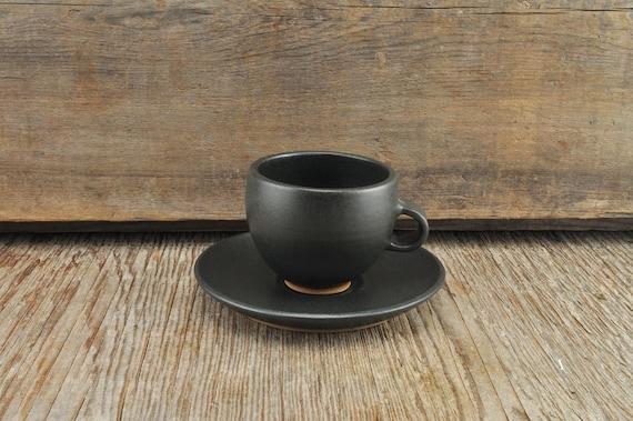 Black satine glaze stoneware espresso / tea cup and saucer