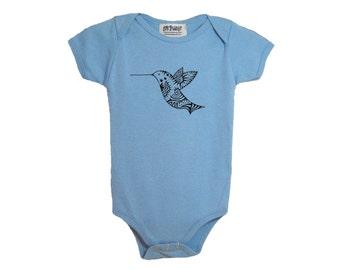 Blue hummingbird baby cotton one-piece bodysuit