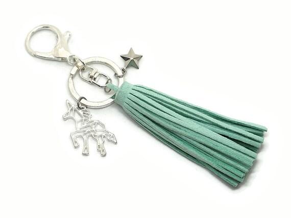 Unicorn keychain - Unicorn keyring - Unicorn gifts for girls - Cute keychains - Unicorn favors - Tassel keyring - Unicorn lover - Silver