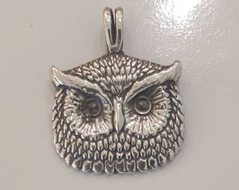 Owl Pendant Charm 925 Sterling Silver - Made In USA-Authentic Great Birthday gift!