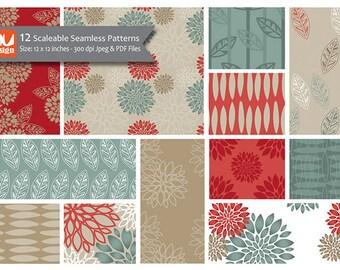 "12 Modern Floral Digital Scrapbooking Paper Patterns - 12x12"" HiRes 300dpi files"