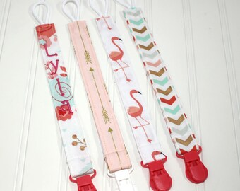 Personalized Pacifier Clips with plastic clip, Gold, Coral, Mint Glitz Pacifier Clips - Mam Gumdrop Nuk Avent Soothie Binky Clips
