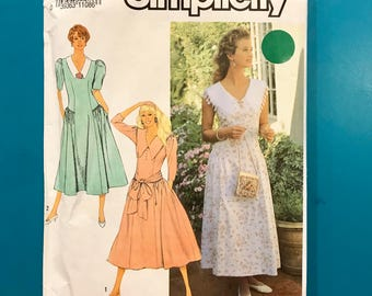 Simplicity 7168 Misses Vintage Dress Fitted Waist Modest Length Church Lunch 12 14 16 18 Sewing Pattern Uncut FF