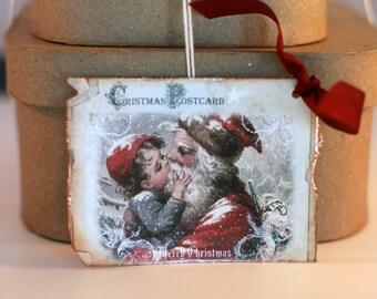 Christmas vintage like Santa gift tag, Christmas gift tags, Holiday gift tag, Holiday hang tag, Vintage like Santa gift tag