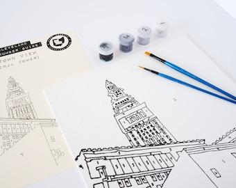 Downtown Cleveland Kit de peinture par numéros (Terminal Tower)