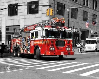 New York Fire Truck Canvas, New York photography Canvas, NYC Wall Art, Fire engine canvas, New York wall art, Office decor, Kids room decor