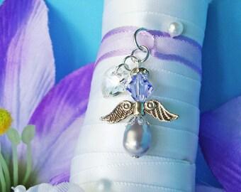 Wedding Bouquet Charm Lavender Purple Swarovski Crystal and Pearl Angel Bouquet Charm