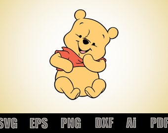 Baby Winnie the Pooh Decal - Vinyl Decals - SVG file - Winnie the pooh Clipart - Printable - Scalable - Vectorial - Silhouette - Cricut