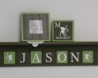 Monkey Nursery Decor, Safari,  Zoo, Jungle Animal Nursery, Chocolate Brown Shelf Personalized Green / Brown Plaques Baby Name Sign