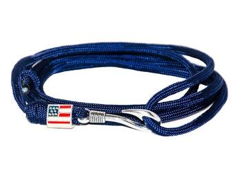 American Flag Paracord Bracelet, Paracord Survival Bracelet, Patriotic 4th Of July Bracelet, Adjustable Wrap Around Friendship Bracelet