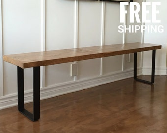 Perfect Industrial Wooden Bench | Reclaimed Wood Bench | Dining Bench, Entry Bench  | Free Shipping