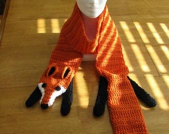 Fox scarf - crocheted