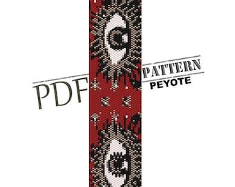 Evil eye protection, peyote pattern, red bracelet, red evil eye protection talisman, peyote bead pattern, peyote stitch