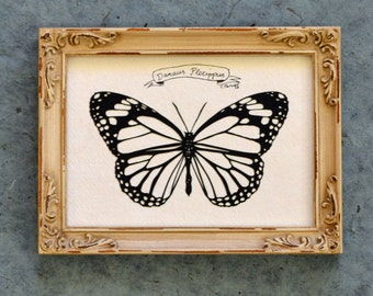 MONARCH BUTTERFLY Papercut - Hand-Cut Silhouette, Framed