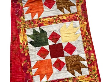 Fall Quilted Table Runner Green, Red, Brown and Yellow, Quilted Fall or Autumn Table Decor, Fall Quilted Table Cloth, Quiltsy Handmade