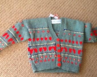 Handknitted baby cardigan-fairisle-6 months to 1 year