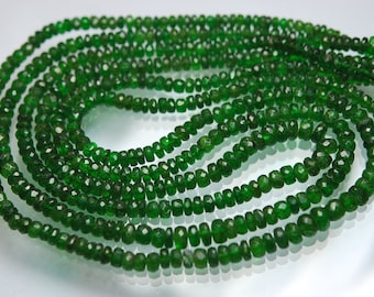 8 Inches Strand,Natural Chrome Diopside Faceted Rondelles Large Size 5-4mm