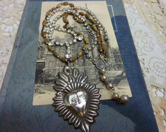 STERLING GRACE RECEIVED  religious vintage  antique assemblage necklace rosary