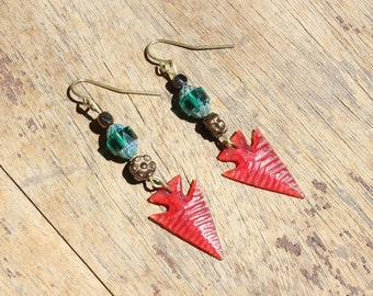 Vintage Red Celluloid Arrowhead OOAK Earrings with Czech Glass Beads For Pierced Ears Assemblage Jewelry